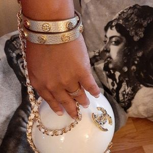 CHANEL CC Mark Stone Ball Shoulder Bag Pearl White